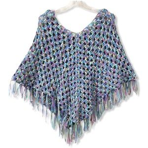 Vintage Hand Crafted Knitted Crochet Poncho